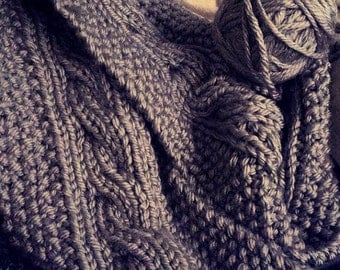 Cozy Cable Knit Scarf in Oatmeal Tweed & Silvery Gray