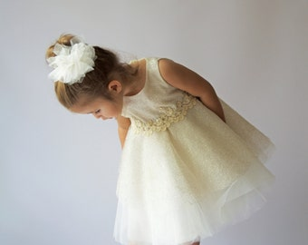 Ivory and Gold Tulle Dress