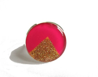Pink and Golden Triangle Ring, handmade ring, Triangle Ring, Geometric Jewelry, Adjustable ring, Bright Pink