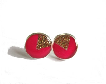 Pink and Golden Triangle Earrings, handmade studs, Triangle Earrings Studs, Geometric Jewelry, Bright Pink