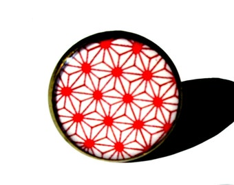Geometric Ring, Tribal Ring, Japanese pattern, Native Jewelry, Folk, Ethnic Ring, Graphic, Minimal, Statement Ring, Red and White