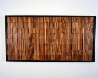 "Wood wall art - ""SERENGETI"" - wooden wall art, wall art, wood art, zebrawood, exotic, wood decor, contemporary art, rustic art, wood hanging"