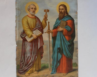 antique German chromolithograph icon St Peter and Paul