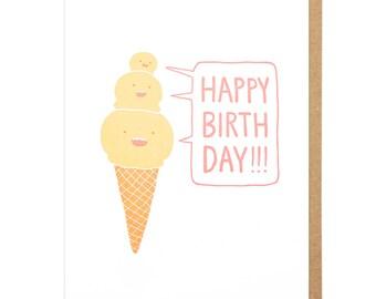 Happy Birthday Ice Cream Letterpress Card