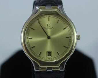 Omega Stainless Steel 18K Solid Gold Ring Mens Quartz Watch