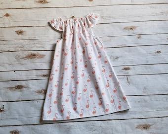 Size 7/8 Flamingo Flutter Sleeve Dress Spring Dress Summer Dress Grow with me dress Everyday play dress playdress flamingo beach beachware