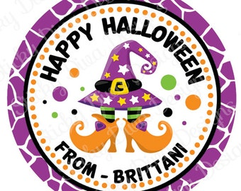 PERSONALIZED STICKERS - Halloween Sweet Witch Feet Personalized Monogrammed Labels -Perfect for Treat Bags - Round Gloss Labels