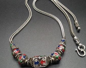 Silver Omani Necklace with gemstones