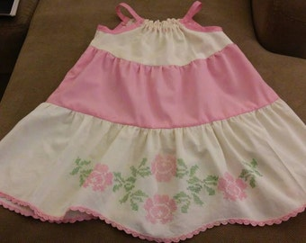 Pink vintage pillow case dress