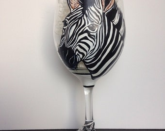 Zebra Striped Zoo Safari Wine Glass
