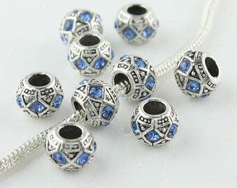 Blue Rhinestone Tibetan Silver European Beads - 10 beads