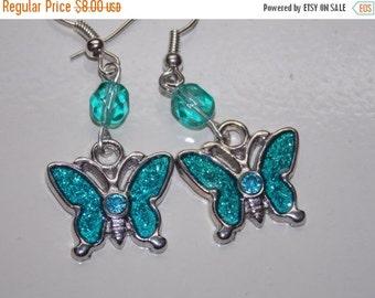 CLEARANCE 30%OFF Aqua Butterfly Earrings