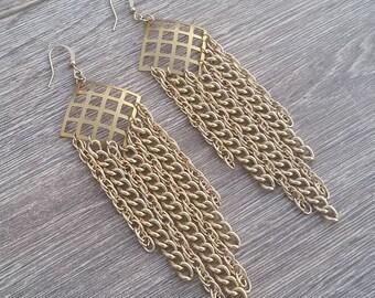 GoldiLinks- Lightweight Aluminum Chain Fringe Chandelier Earrings
