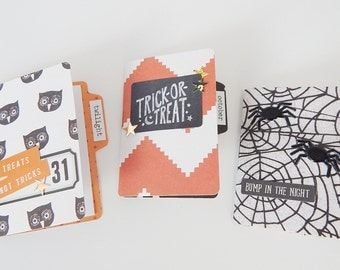 Set of 3 Handmade Halloween Mini File Folder Booklets For Project Life and Pocket Letters