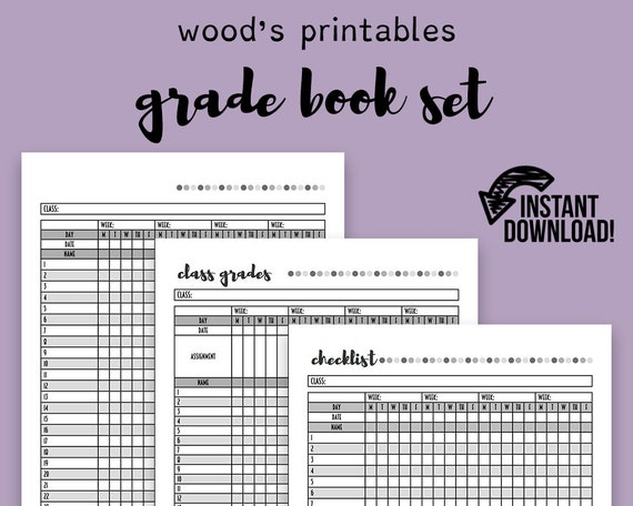 Grade Book PDF Planner Teaching Planner Teacher