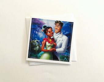 Princess Tiana and Prince Naveen -Stitched Greeting Card and Envelope - Small - Blank