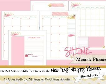 BIG Happy Planner PRINTABLE Monthly Calendar Refills / Inserts - PDF  8.5 x 11 | Happy Planner | Create 365 | Me & My Big Ideas | mambi