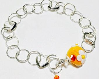 Lampwork Heart Chain Bracelet