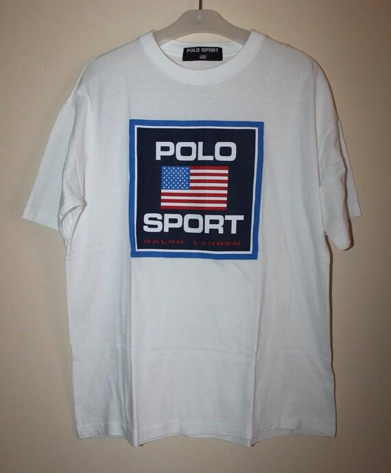 vintage polo sport ralph lauren usa flag t shirt stadium spell. Black Bedroom Furniture Sets. Home Design Ideas