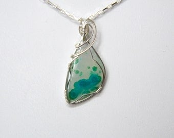 Chrysocolla in Quartz Wire Wrapped Pendant in Sterling Silver