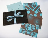 Designer Series Stationery Note Gift Card Set in Blue and Chocolate