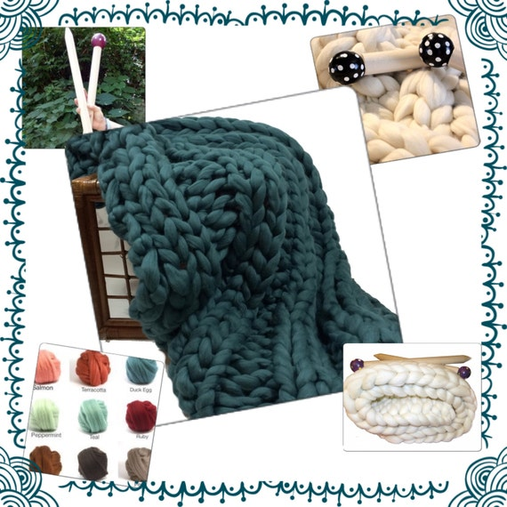 "KNIT-KIT,COLOR Choice!  Chunky Blanket, 24"" Needles,4.4# Chunky Yarn, Tutorial, Patterns,"