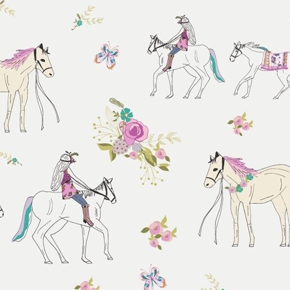 Horse fabric anna elise by bari j for art gallery fabrics for Horse fabric for kids