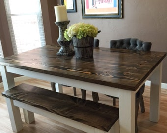 farmhouse table solid wood farmhouse dining table farmhouse kitchen table built to order - All Wood Dining Room Table