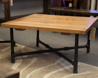 Industrial Coffee Table | Coffee Table With Black Iron Pipe Legs | Rustic  Coffee Table |