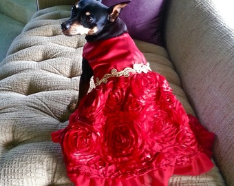 Scarlett O'hara  Red Satin Party Dog Dress with 3D Rosettes for Dogs XXS-XXL