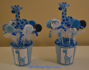 Charming Giraffe Baby Shower Centerpiece With Washcloth Lollipop Favors Made To  Order For Baby Boys, Baby