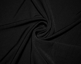 """Black Solid ITY 2-Way Stretch Knit Polyester Lycra Spandex Apparel Craft Fabric Medium Weight 58""""-60"""" Wide By The Yard"""