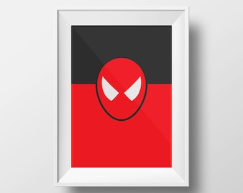 Flat Design Spiderman Kids Poster Boys Room Poster Art Superhero Digital Download Color Superhero Poster Print - Boys Room - 8x10, 11x14.