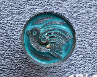 CZECH GLASS BUTTON: 18mm Handpainted Robin Bird Czech Glass Button, Pendant, Cabochon (1)