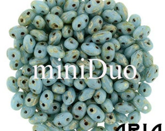BLUE TURQUOISE PICASSO: MiniDuo Two-Hole Czech Glass Seed Beads, 2x4mm (5 grams)