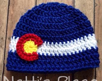 Colorado Flag Hat, sizes Newborn - Adult, Colorado flag beanie, colorado hat, Colorado beanie, made to order