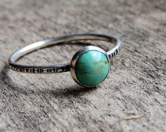Sterling Silver Genuine Turquoise Stacking Ring | Hammered Ring Band | Unique Engagement, Boho, Size 6.75 Ready to Ship
