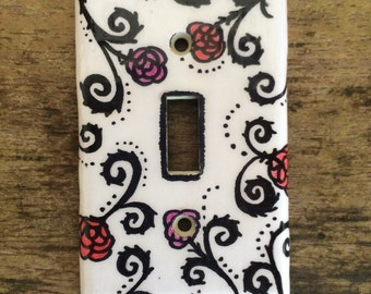 Black Swirls and Roses Switch Plate