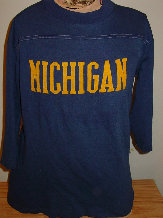 Vintage 1980s university of michigan wolverines jersey t shirt for Michigan state t shirts vintage