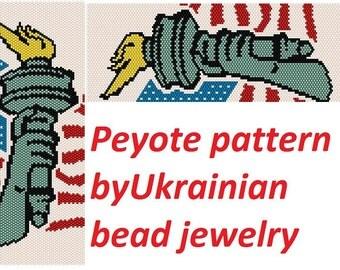 Jewelry tutorial in handmade bracelet pattern peyote jewelry STATUE OF LIBERTY american pattern delica pattern jewelry lessons jewelry makin
