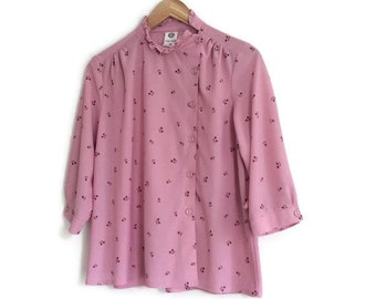 Dusty Pink Blouse // Retro pink  blouse // 1980s womens shirt // pink floral blouse  // polyester blouse // UK 14 - U.S 10