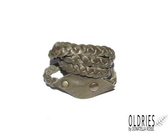Handmade braided leather bracelet made with green olive leather