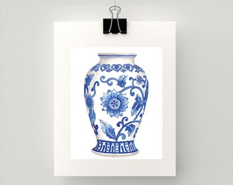 REPRODUCTION PRINT - White and blue china ming vase floral watercolour print.
