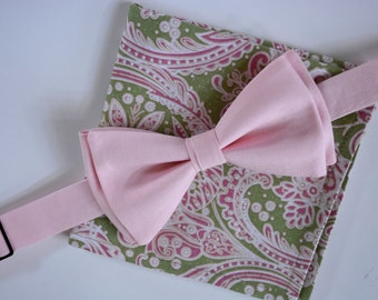 sage green and pink paisley pocket square,mens bow tie, pink bow tie,floral hankie,grooms hankies,handkerchief