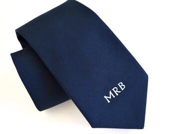 Monogram necktie for men,white monogram,navy blue necktie for men,cotton neckties