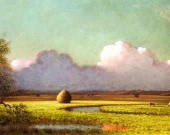 "Martin Johnson Heade : ""Sunlight and Shadow - Newbury Marshes"" — Giclee Fine Art Print"
