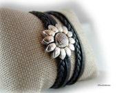 Wickelarmband Lederarmband Damen schwarz Magnetverschluss Blume silber -  Armband Damen  - für sie - Geschenk Ehefrau Freundin boho
