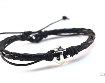 Black leather strap silver anchor