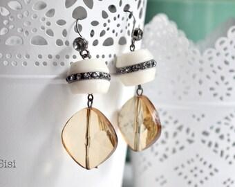 Topaz earrings white pearl earrings