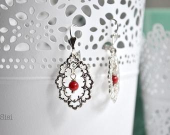 Earrings red pearl diamond filigree